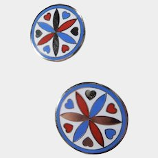 Round Enamel Red and Blue Hearts and Flowers Pierced Earrings