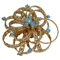 Goldtone Bow Pin with Turquoise Colored Stones