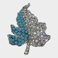 Vintage Silvertone Rhinestone and Turquoise Bead Leaf Pin