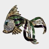Trifari Objects of Fascination Rhinestone and Enamel Fish Pin