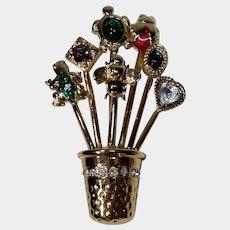 Signed Carolee Goldtone and Rhinestone Flower Pot Pin