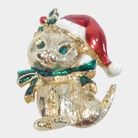 Gerry's Christmas Pin Cat Wearing Santa Hat and Bow