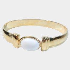 Signed Monet Classic White and Gold Tone Bangle Bracelet