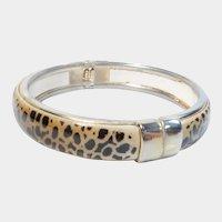 Leopard Print and Gold Tone Hinged Bangle Bracelet