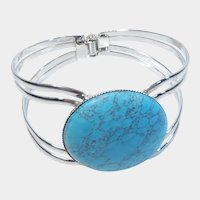 Turquoise Colored Stone and Silver Tone Clamper Bracelet