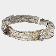 Gold Tone Mesh and Rhinestone Bracelet