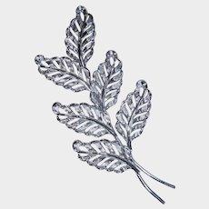 Vintage Sterling Silver Leaf Pin