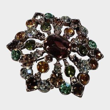 Vintage Liz Claiborne Topaz and Green Rhinestone Medallion Gold Tone Pin