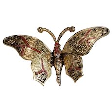 Vintage Damascene Gold Tone Butterfly Pin Marked Spain