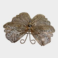 Vintage Large Gold Tone Butterfly Pin Marked Monet