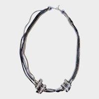 Multi Strand Rhinestone Black Goldtone Silvertone Slide Choker Necklace