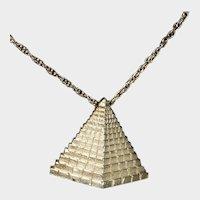 Signed Trifari Goldtone Pyramid Pendant