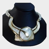 Mother of Pearl and Goldtone Choker Necklace