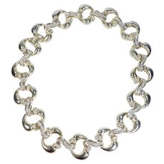 Gold Tone and Rhinestone Choker Necklace