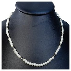 Monet Faux Pearl and Gold Tone Choker Necklace