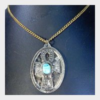 Gold Tone Turquoise Colored Scarab Egyptian Ankh Pendant Necklace