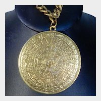 Double Sided Gold Tone Mayan Aztec Calendar Pendant Necklace