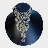 Vintage Silver Tone Dangle Etruscan Style Festoon Necklace