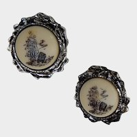 Unusual Scrimshaw Type and Silver Tone Clip On Button Earrings