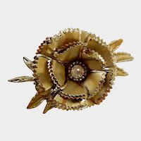 Vintage Large Gold Tone Flower Pin with Clear Rhinestone