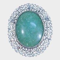 Silver Tone Filigree Jade Colored Brooch Pendant