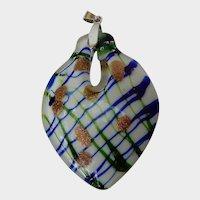 Unusual Heart Shaped Art Glass Pendant