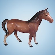 Brown Porcelain Horse Numbered Japan