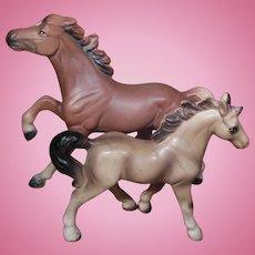 Pair of Brown Porcelain Horses Japan