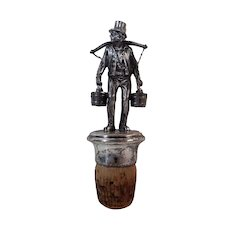 Finely Detailed Figural Pewter Bottle Stopper Man Carrying Water Buckets