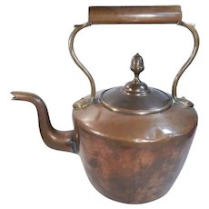 Early Copper and Brass Dovetailed Goose Neck Teapot