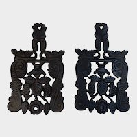 Pair of Cast Iron Trivets Marked 1950 JHZ for John Zimmerman Harner
