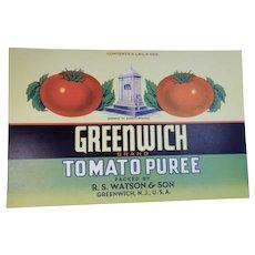 Vintage Greenwich NJ Tomato Can Label Watson & Son