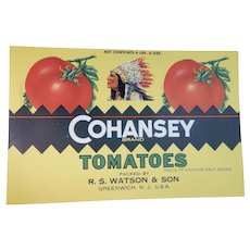 Vintage Cohansey Brand Tomato Can Label Watson & Son