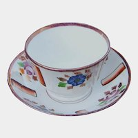 19th Century Handleless Pink Lustre Luster Cup and Saucer