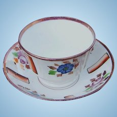 19th Century Handleless Pink Luster Cup and Saucer