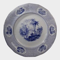 Blue Transferware Plate William Ridgway Euphrates Pattern Circa 1834