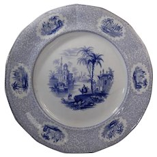 Blue Transferware Plate William Ridgway Euphrates Pattern Circa 1834