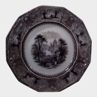 Flow Black Transferware Plate Lozere Pattern Edward Challinor Pottery