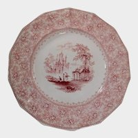 T.J. & J. Mayer Romantic Pink Transferware Plate Garden Scenery Pattern