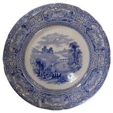 T. J. & J. Mayer Blue Transferware Plate Florentine Pattern Circa 1843
