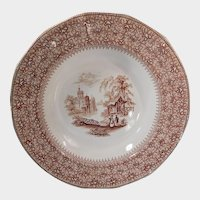 Thomas Edwards Romantic Brown Transferware Bowl Waverly Pattern