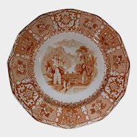 Romantic Brown Transferware Plate Dated 1849 Fountain and Garden Scenery