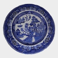 19th Century Blue Willow Transferware Plate