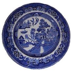 19th Century Blue Willow Transferware Plate