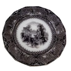W. Adams Romantic Staffordshire Black Transferware Plate Athens 1849