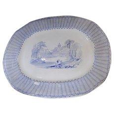 Light Blue Transfer Platter Thomas Fell Corinth Pattern 1845