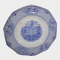 Blue Transferware Bowl John Ridgway University Pattern Circa 1845