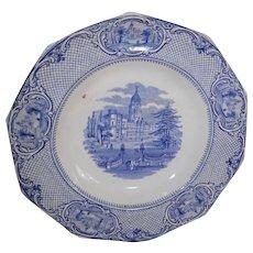 Blue Transferware Plate John Ridgway University Pattern Circa 1845