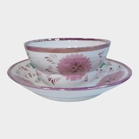 19th Century Handleless Pink Lustre Luster Cup and Saucer Flowers