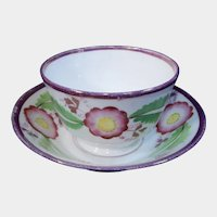 19th Century Handleless Pink Luster Cup and Saucer Flowers
